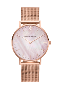 Paul Valentine Rose Gold Pink Seashell Mesh Watch