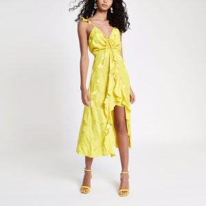 Yellow Frill Slip Cami Midi Dress