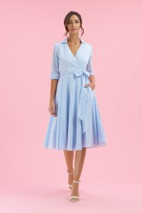 Taylor Blue & White Stripe Wrap Dress